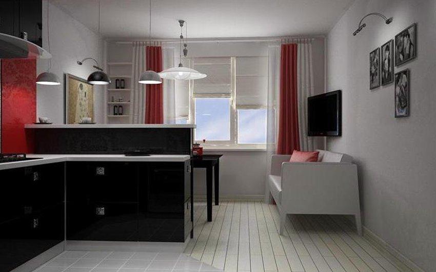 Дизайн маленькой кухни в двух окнах