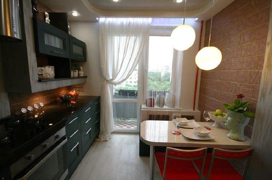 Интерьер кухни 10 кв.м с балконом фото