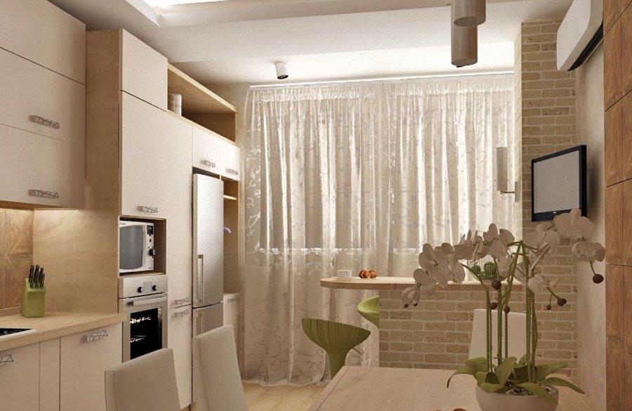 Современный дизайн соединение кухни с балконом фото..