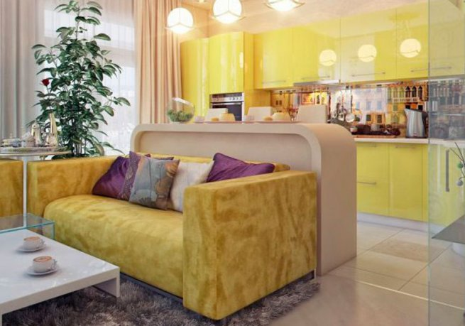 стильный диван на кухне жёлтый