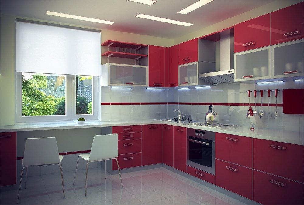 красная кухня дизайн фото