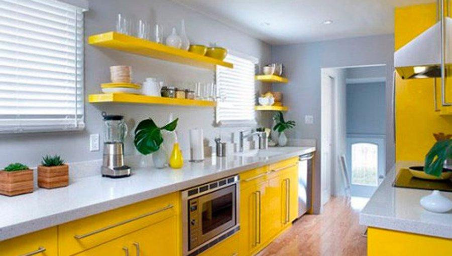Фото дизайн желтой кухни