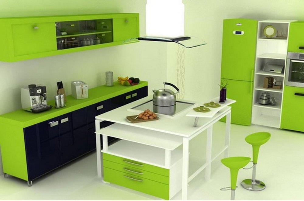 Дизайн кухни с зеленой мебелью