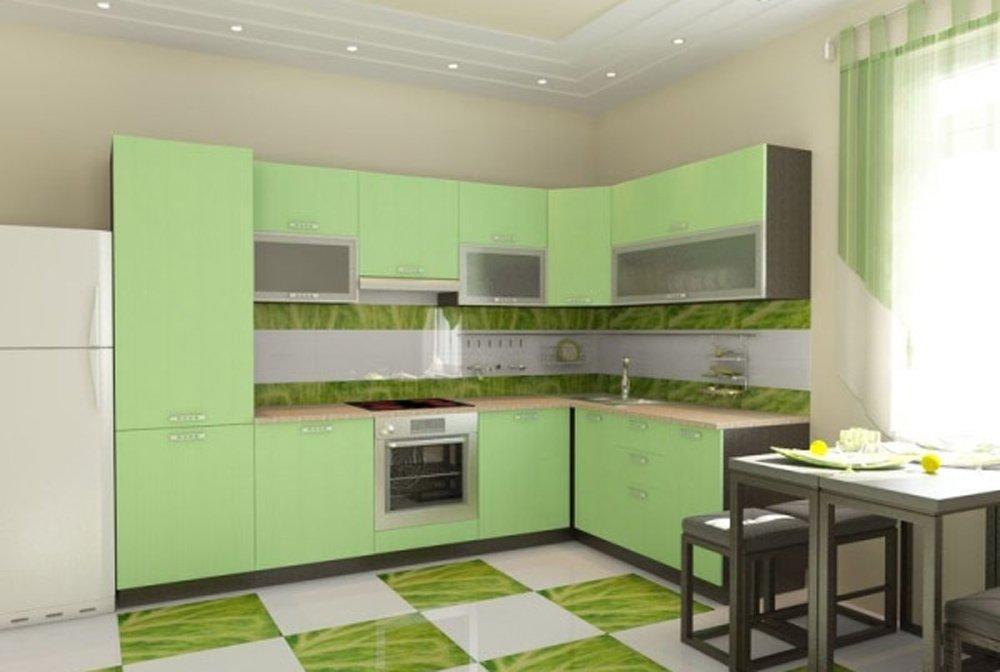 Дизайн кухня бежевая салатовый
