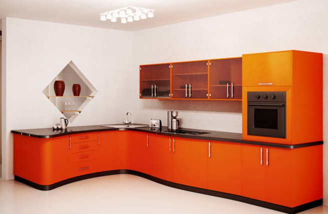 Оранжевая кухня 23 фото