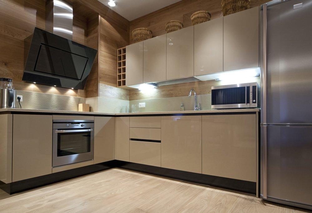 Дизайн бежевая кухня