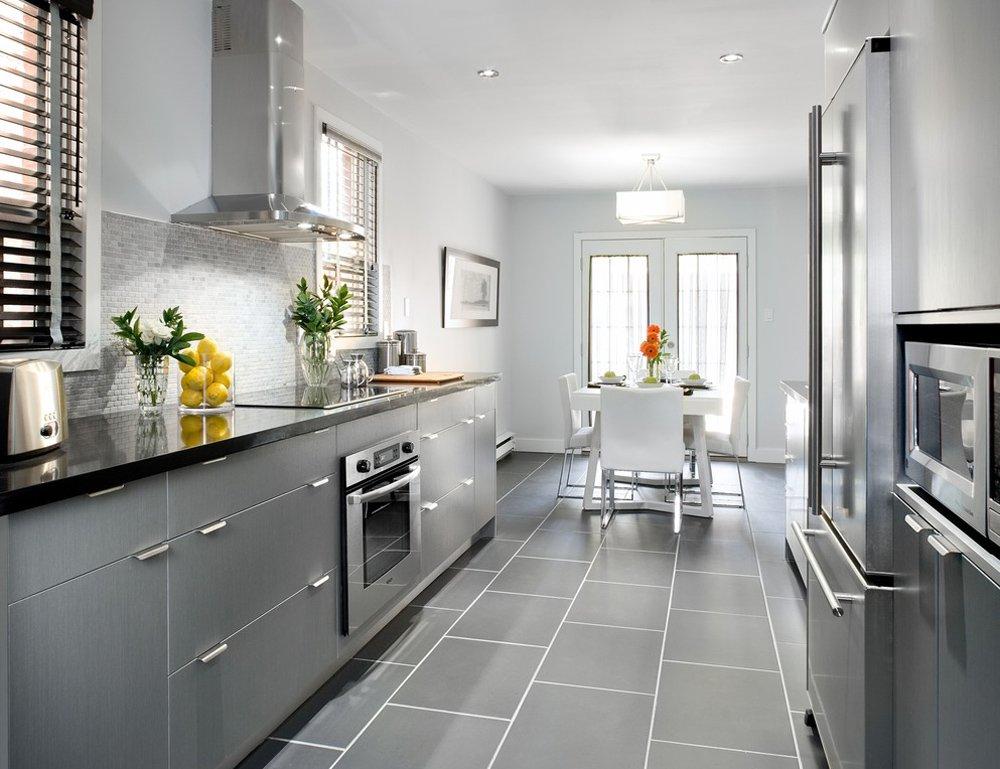 Серо белая кухня дизайн