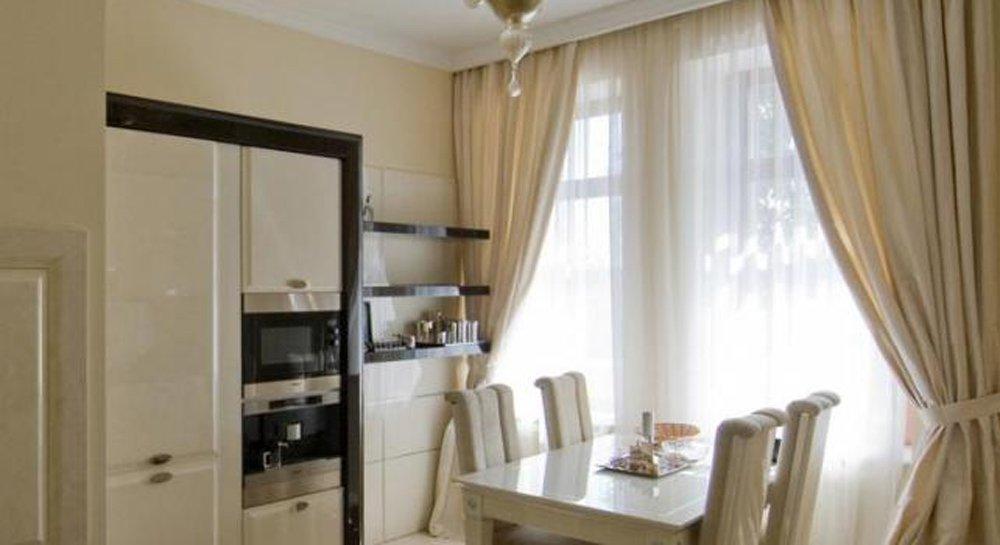 Шторы для кухни (25 фото), выбор цвета штор, текстура, видео.