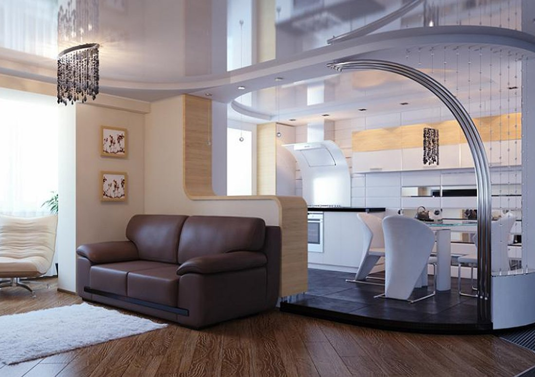 Комната совмещенная с кухней фото